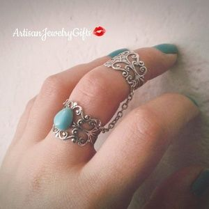 Turquoise Armor Ring Silver Slave Ring Chain Rings